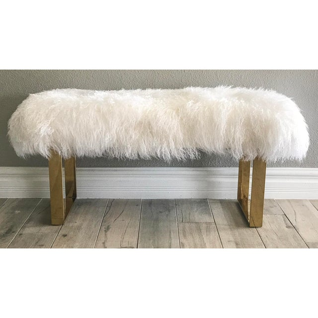 Boho Chic Hollywood Regency Large Mongolian Sheepskin and Brass Bench For Sale - Image 3 of 6