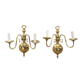 Colonial Polished Brass 2 Arm Sconces - a Pair For Sale