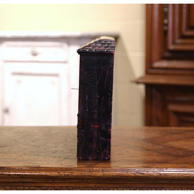 Late 19th Century 19th Century English Black Painted Cast Iron Wall Mailbox With Relief Decor For Sale - Image 5 of 10