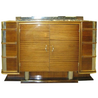 1930s French Art Deco Nickel Mounted Ribbon Stripe Mahogany Cabinet For Sale
