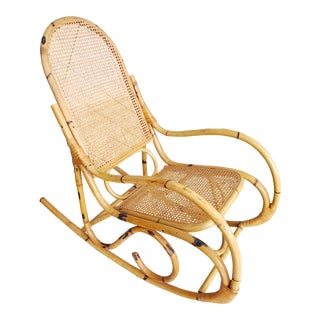 Mid-Century Bamboo Bentwood Canned Rocking Chair