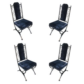 Mid-Century Mediterranean Style Wrought Iron Side Chairs - Set of 4 For Sale