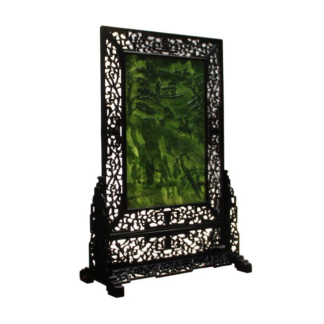Asian Chinese Vintage Spinach Green Stone Scenery Carving Table Top Wall Panel Displa For Sale - Image 3 of 13