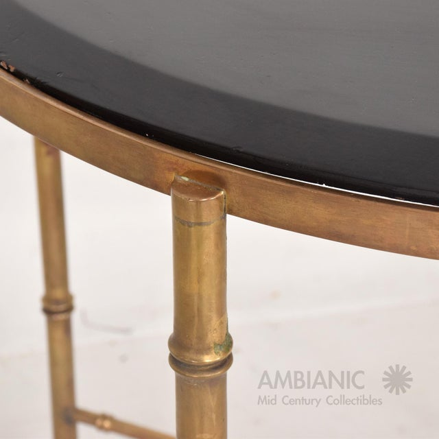 1950s Mexican Modernist Center Table in Brass, Wood and Malachite, Pepe Mendoza For Sale - Image 5 of 9