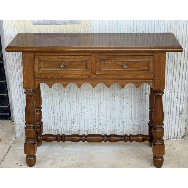 Cottage 19th Spanish Walnut Console Table With Two Drawers For Sale - Image 3 of 12