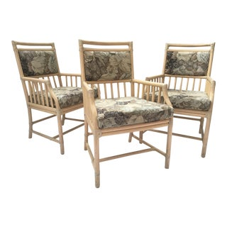McGuire Rattan Accent Arm Chairs - Set of 3 For Sale