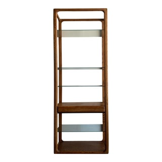 1970s Mid-Century Modern Solid Oak and Glass Bookshelf For Sale