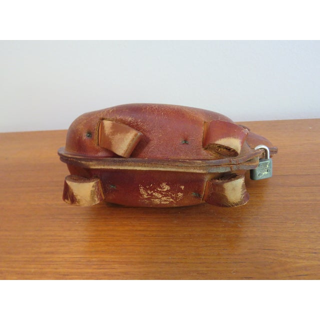 1960's Mid-Century Brown Leather Dog Coin Bank For Sale In Madison - Image 6 of 7