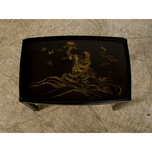 Modern Striking Lacquered Tray, Hand Painted, England c.1890, Mounted as a Table For Sale - Image 3 of 8