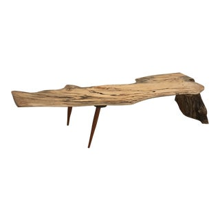 Modern Rustic Live Edge Spalted Maple Waterfall Bench For Sale