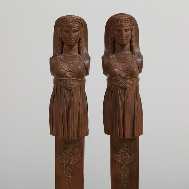 Egyptian Revival A Pair of Terracotta Term Figures circa 1980 For Sale - Image 3 of 8