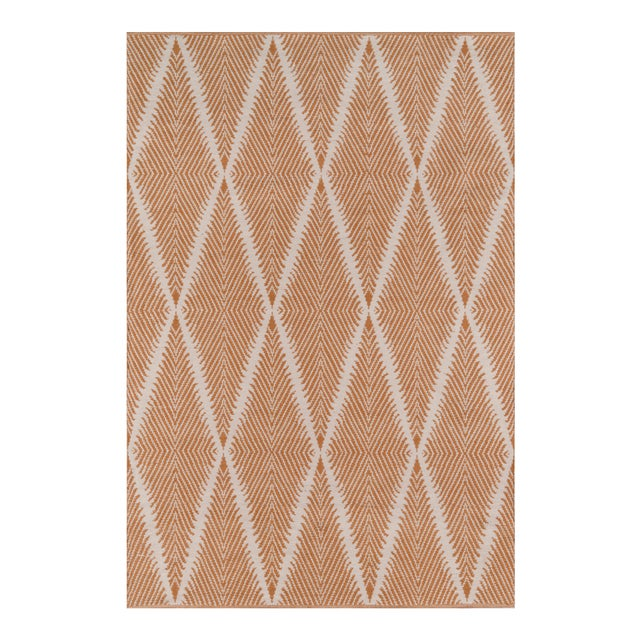 """Erin Gates by Momeni River Beacon Orange Indoor/Outdoor Hand Woven Area Rug - 3'6"""" X 5'6"""" For Sale"""