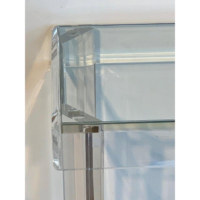 Early 21st Century Sleek Modern Lucite and Glass Console For Sale - Image 5 of 11