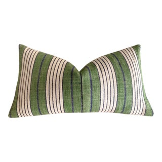 Schumacher Green Horst Stripe Pillow Cover For Sale