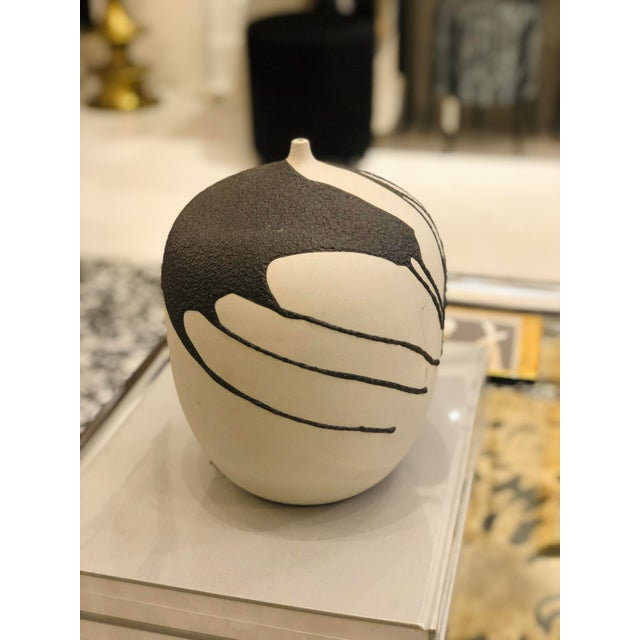 Contemporary Ceramic Vase With Lava Glaze For Sale - Image 3 of 8