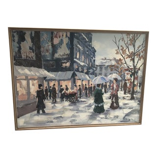 Traditional Lee Reynolds French City Scene Painting For Sale