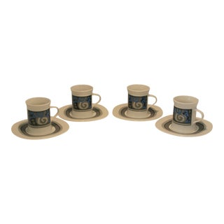 Vintage Sango Quadrille Fine China Espresso Cups & Saucers - Set of 4