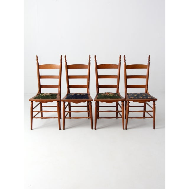 Victorian Victorian Ladder Back Chairs With Needlepoint - Set of 4 For Sale - Image 3 of 8