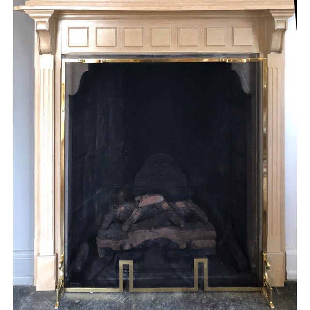 2010s French Country 2 Piece Oak Fireplace Mantel With Oak Framed Mirror For Sale - Image 5 of 8
