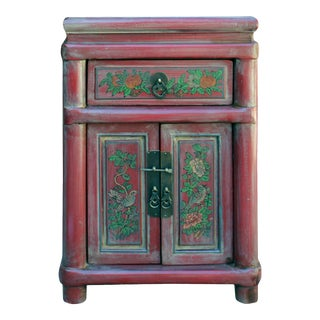 Chinese Rustic Distressed Pink Red Graphic End Table Nightstand For Sale