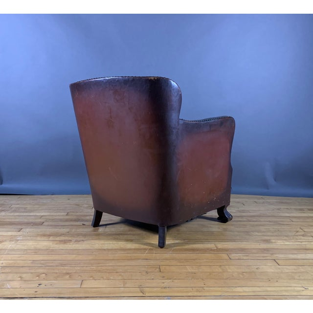 1940s Early 1940s Danish Cognac Leather Club Chair, New Mohair For Sale - Image 5 of 10