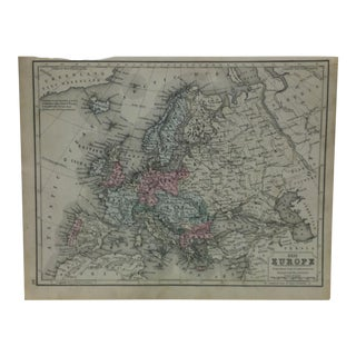 "Vintage Map on Paper - ""Europe"" - Circa 1930 For Sale"