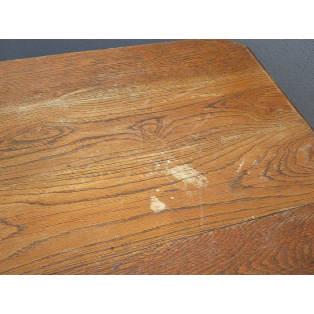 Antique Spanish Style Library Table Desk W Stretcher Mission Style For Sale - Image 10 of 13