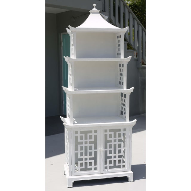 Chinoiserie Vintage Fretwork Pagoda Bookcase or Etagere For Sale - Image 3 of 12