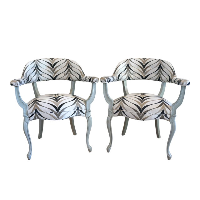 Vintage Art Deco Style Arm Chairs - Pair - Image 1 of 8