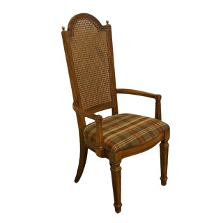 Late 20th Century Vintage Thomasville Furniture Cellini Collection Cane Back Dining Arm Chair For Sale