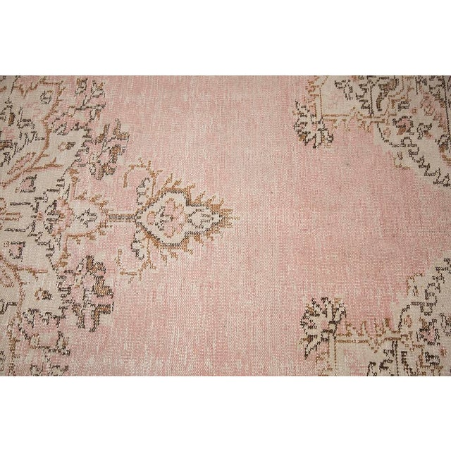 "Textile Blush Pink Turkish Overdyed Rug - 6'6"" x 10'3"" For Sale - Image 7 of 7"