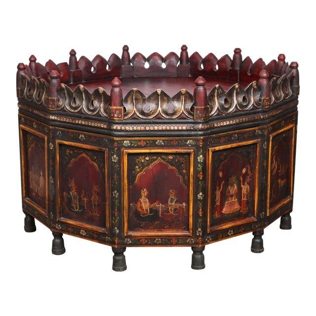 Anglo Indian Hand-Painted Teak Coffee Table For Sale