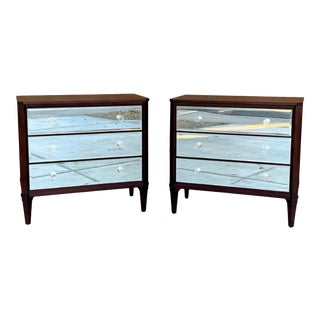 Mahogany Mirrored Bachelor Chests by Ethan Allen For Sale