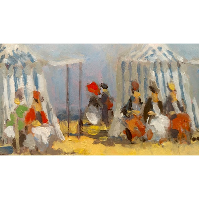 Frederick H. McDuff - Figures With Cabanas at the Beach -Oil Painting For Sale In Los Angeles - Image 6 of 12