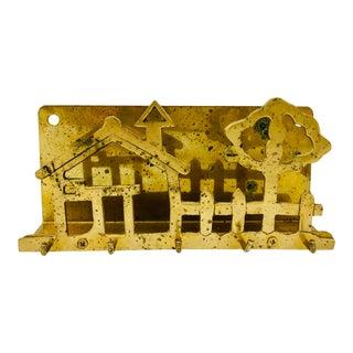 Vintage Hanging Brass Letter & Key Holder For Sale