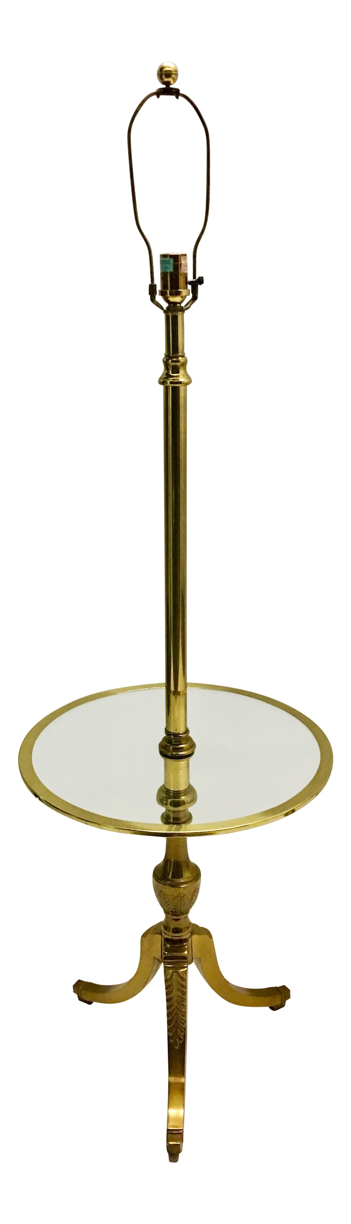 Vintage Brass Floor Lamp With Table