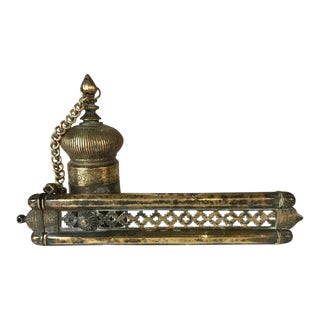 Ottoman Brass Inkwell and Pen Case Qalamdan For Sale