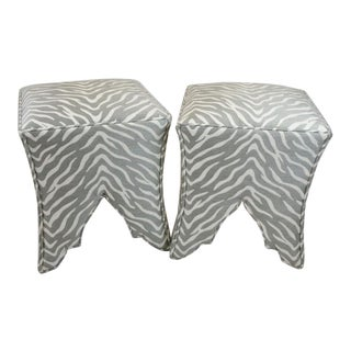 Grey and White Woven Zebra Fabric Ottomans - a Pair