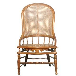 Antique English Cane Desk Chair W/ Spring Mechanism, C.1890 For Sale
