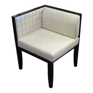1990s Pietro Costantini Espresso Lacquer & Quilted Ultrasuede Corner Chair For Sale