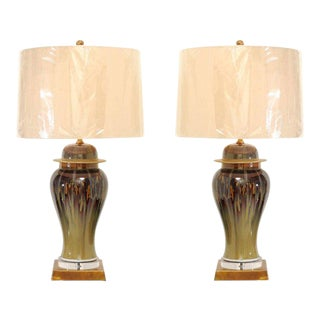 Pair of Custom Drip Glaze Lamps in Moss, Oxblood and Yellow Ochre For Sale