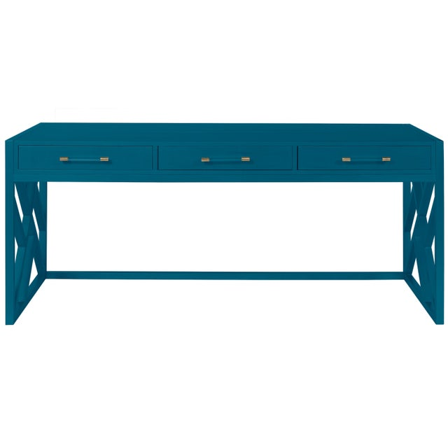 Transitional Casa Cosima CeCe Desk with Wood Fretwork Base, Blue Danube For Sale - Image 3 of 3