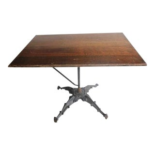 Antique Cast Iron Base Drafting Table For Sale