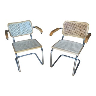 1970s Cantilever Chrome and Wicker Chairs - a Pair** For Sale
