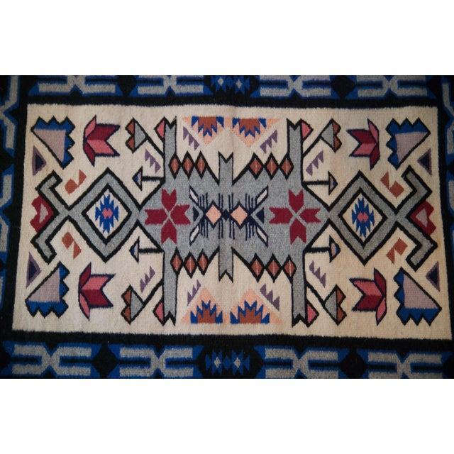 Textile Vintage Navajo Hand Loomed Geometric Rug by Ella John- 2′1″ × 3′2″ For Sale - Image 7 of 12
