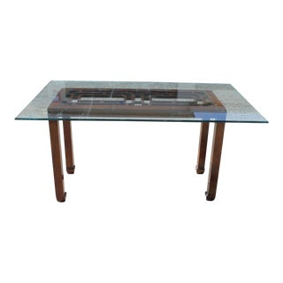 Modern Hollywood Regency Henredon Ming Fretwork Dining Table For Sale