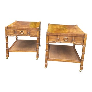 1960s Vintage Heritage Faux Bamboo End Tables- a Pair For Sale