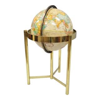"Mid-Century Modern Replogle 16"" World Classic Series Globe on Brass Stand Base For Sale"