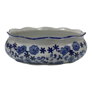 Blue and White Cachepot Planter With Floral Motif