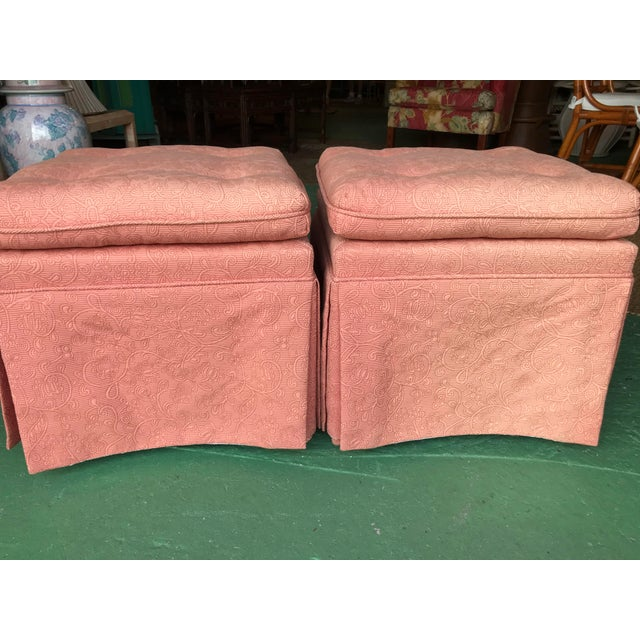 1980s Vintage Pink Tufted Skirted Upholstered Ottomans-A Pair For Sale - Image 5 of 11